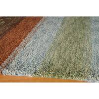 "Momeni Desert Gabbeh Hand-Knotted Wool Rug - Brown/Light Blue - 9'6"" x 13'6"""
