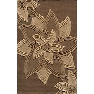 """Lotus Mocha Hand-Tufted Wool Rug (2'3"""" x 8')"""