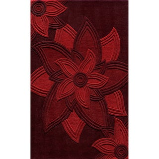 "Lotus Red Hand-Tufted Wool Rug (2'3"" x 8')"