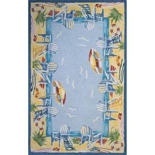 Ocean Light Blue Hand-hooked Cotton Rug (2' x 3')