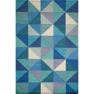 Cosmopolitan Diamonds Blue Hand-tufted Wool Rug (8' x 10')