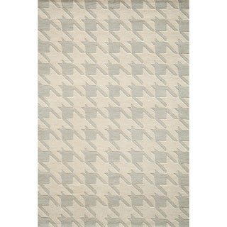 Cosmopolitan Houndstooth Grey Hand-tufted Wool Rug (8' x 10')