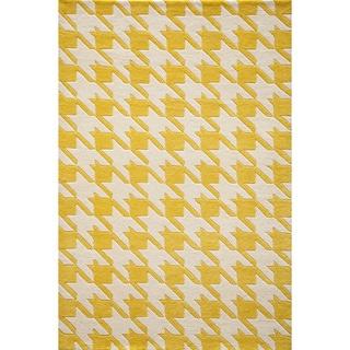 Cosmopolitan Houndstooth Yellow Hand-tufted Wool Rug (8' x 10')