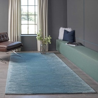 Cosmopolitan Vibe Aqua Hand-tufted Wool Rug (5' x 8')