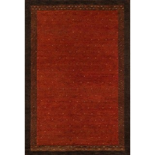 "Sierra Paprika Hand-knotted Indian Wool Rug (5'3"" x 8')"