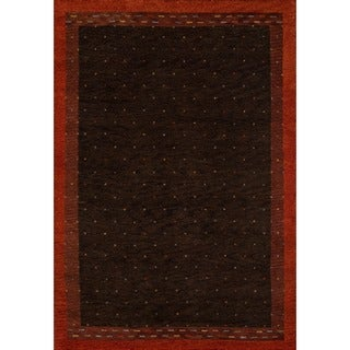 "Sierra Brown Hand-knotted Indian Wool Rug (7'6"" x 9'6"")"