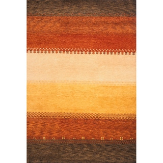 "Sierra Multi Hand-knotted Indian Wool Rug (7'6"" x 9'6"")"