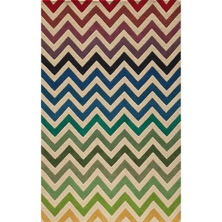 Cosmopolitan Chevron Multi Hand-tufted Wool Rug (8' x 10')
