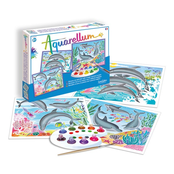 Aquarellum Large Dolphins Art Canvas
