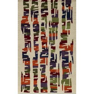 Cosmopolitan Abstract Multi Hand-tufted Wool Rug (5' x 8')