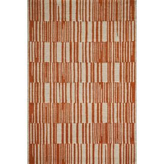 Cosmopolitan Static Orange Hand-tufted Wool Rug (5' x 8')
