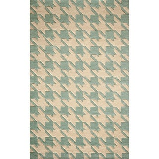 Cosmopolitan Houndstooth Blue Hand Tufted Wool Rug 5
