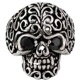 Sterling Silver Floral Filigree Skull Ring