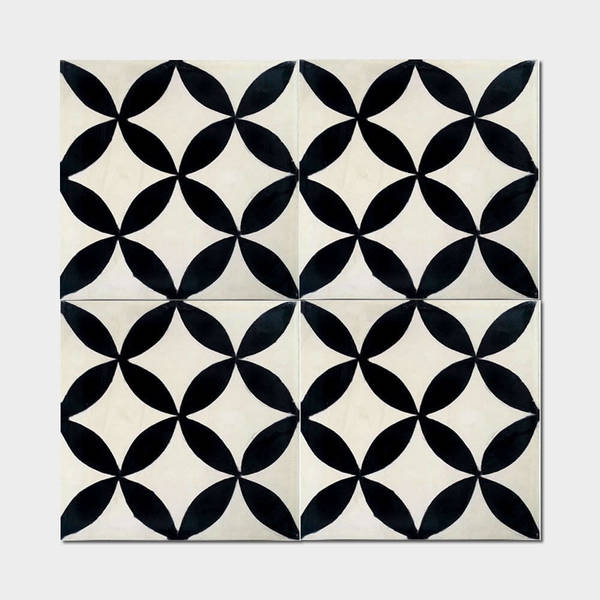 Amlo Circle Black Handmade Moroccan 8 x 8 inch Cement and Granite Floor or Wall Tile (Case of 12)