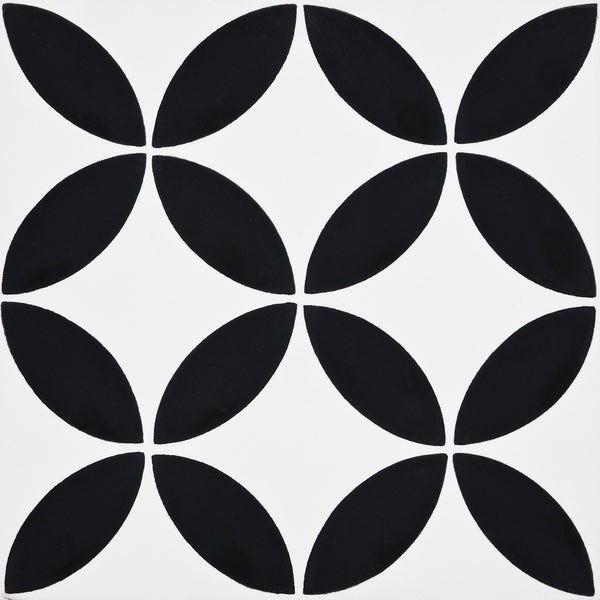 Amlo in White and black Handmade 8x8-in Moroccan Tile (Pack 12)