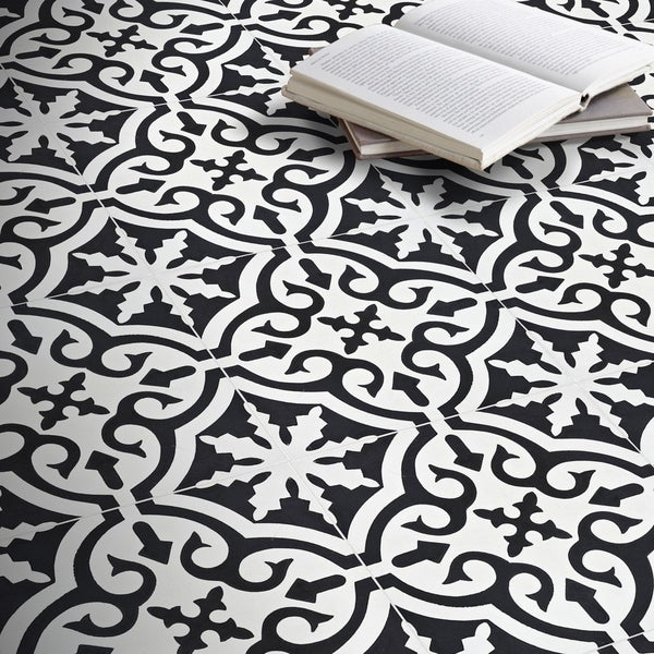 Argana in White and Black Handmade 8x8-in Moroccan Tile (Pack 12)