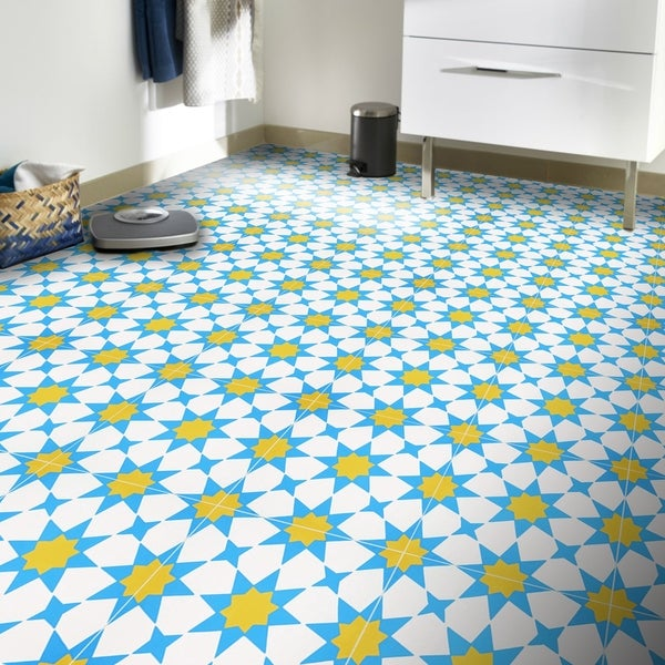 Medina in Blue and Yellow Handmade 8x8-in Moroccan Tile (Pack 12)