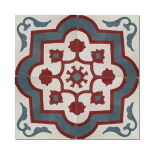 Pack of 12 Taza Handmade Cement and Granite 8-inch x 8-inch Floor and Wall Tile (Morocco)