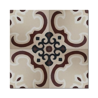 Pack of 12 Sevia Brown Handmade Cement and Granite 8-inch x 8-inch Floor and Wall Tile (Morocco)