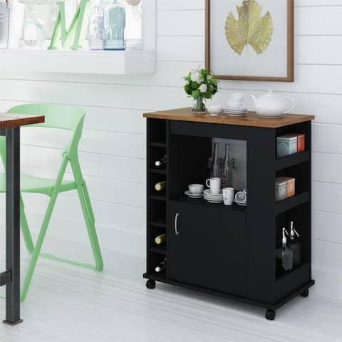 Porch & Den Gaylord Black Stipple Kitchen Beverage Cart
