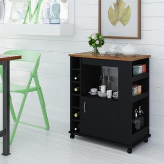 Ameriwood Home Black Stipple Kitchen Beverage Cart
