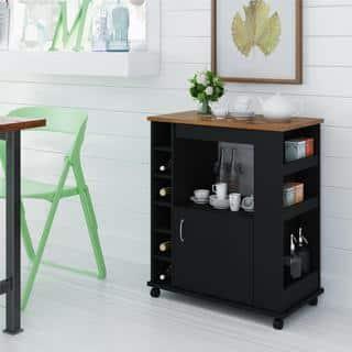Ameriwood Home Black Stipple Kitchen Beverage Cart|https://ak1.ostkcdn.com/images/products/9658349/P16840525.jpg?impolicy=medium