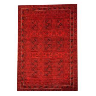 Herat Oriental Semi-antique Afghan Hand-knotted Tribal Balouchi Red/ Navy Wool Rug (6'6 x 9'6)