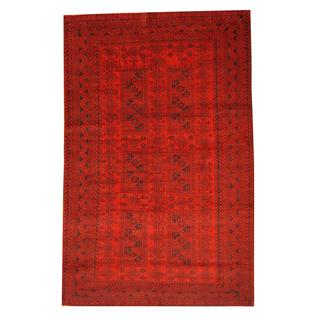 Herat Oriental Semi-antique Afghan Hand-knotted Tribal Balouchi Red/ Ivory Wool Rug (6'3 x 9'9)