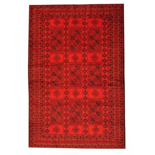 Herat Oriental Semi-antique Afghan Hand-knotted Tribal Balouchi Red/ Ivory Wool Rug (6'4 x 9'7)