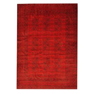 Herat Oriental Semi-antique Afghan Hand-knotted Tribal Balouchi Red/ Black Wool Rug (6'8 x 9'6)
