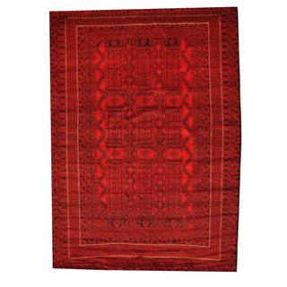Herat Oriental Semi-antique Afghan Hand-knotted Tribal Balouchi Red/ Black Wool Rug (6'10 x 9'6)