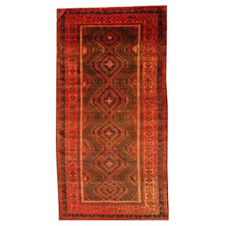 Herat Oriental Semi-antique Afghan Hand-knotted Tribal Balouchi Black/ Rust Wool Rug (5'7 x 10'9)