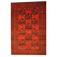 Herat Oriental Semi-antique Afghan Hand-knotted Tribal Balouchi Red/ Black Wool Rug (6'5 x 9'11)