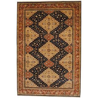 Herat Oriental Indo Hand-knotted Tribal Shiraz Navy/ Beige Wool Rug (6' x 9')