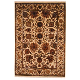 Herat Oriental Indo Hand-knotted Mahal Ivory/ Burgundy Wool Rug (6'3 x 9')