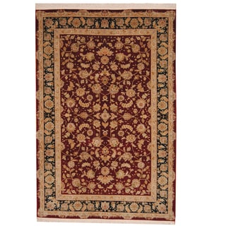 Herat Oriental Indo Hand-knotted Tabriz Burgundy/ Beige Wool and Silk Rug (5'10 x 8'9)
