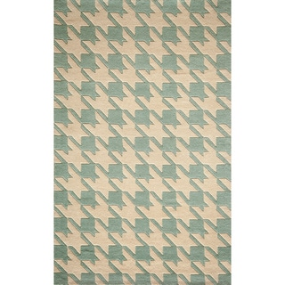 "Cosmopolitan Houndstooth Blue Hand-tufted Wool Rug (3'6"" x 5'6"")"