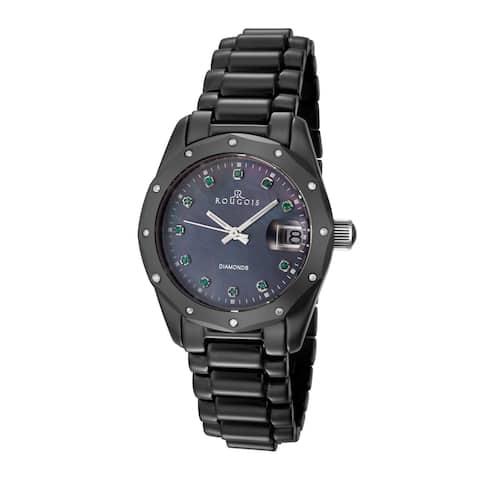 Rougois Women's Black Ceramic Diamond Accented Emerald Watch