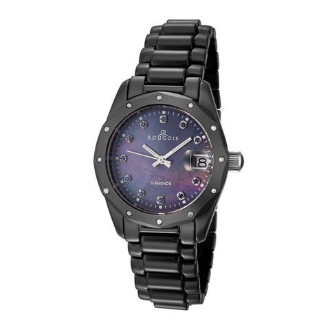 Rougois Women's Black Diamond Accent Watch