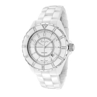 Rougois Women's High Tech White Ceramic Diamond Accent Watch