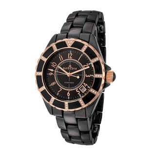 Rougois Women's Black Ceramic Rose Goldtone Diamond Accent Watch