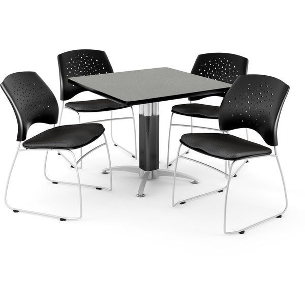 "OFM Breakroom 36"" Square Multi-Purpose Table, 4 Stacking Chairs"