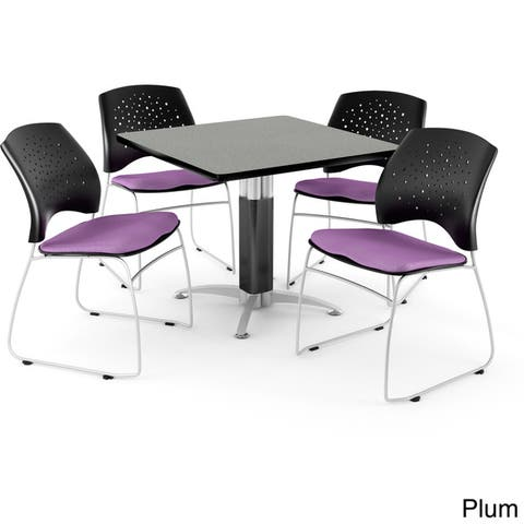 """OFM Breakroom 36"""" Square Multi-Purpose Table, 4 Stacking Chairs"""
