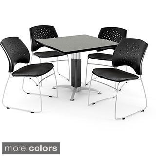 OFM Stars Series 36 Inch Square Grey Nebula Table with 4 chairs