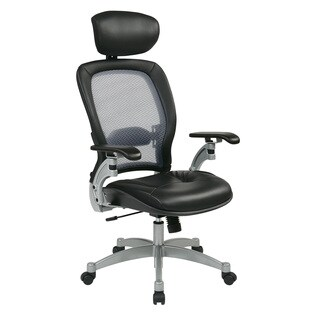 Space 36 Series Air Grid Back Contour Ergonomic Leather Executive Chair with Headrest
