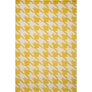 "Cosmopolitan Houndstooth Yellow Hand-tufted Wool Rug (3'6"" x 5'6"")"