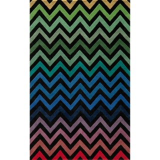 "Cosmopolitan Chevron Black Hand-tufted Wool Rug (3'6"" x 5'6"")"