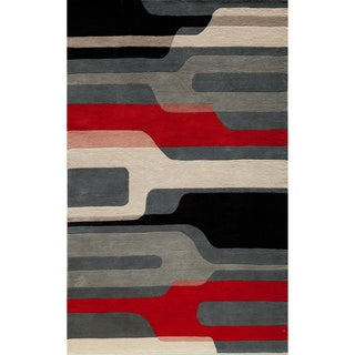 "Cosmopolitan Stripes Black Hand-tufted Wool Rug (3'6"" x 5'6"")"