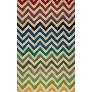 "Cosmopolitan Chevron Multi Hand-tufted Wool Rug (3'6"" x 5'6"")"
