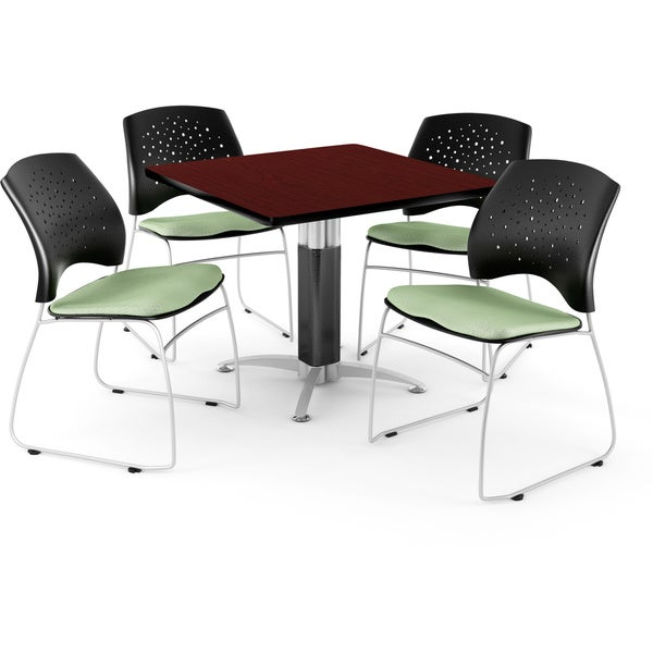 OFM Square Mahogany Table with 4 Chairs